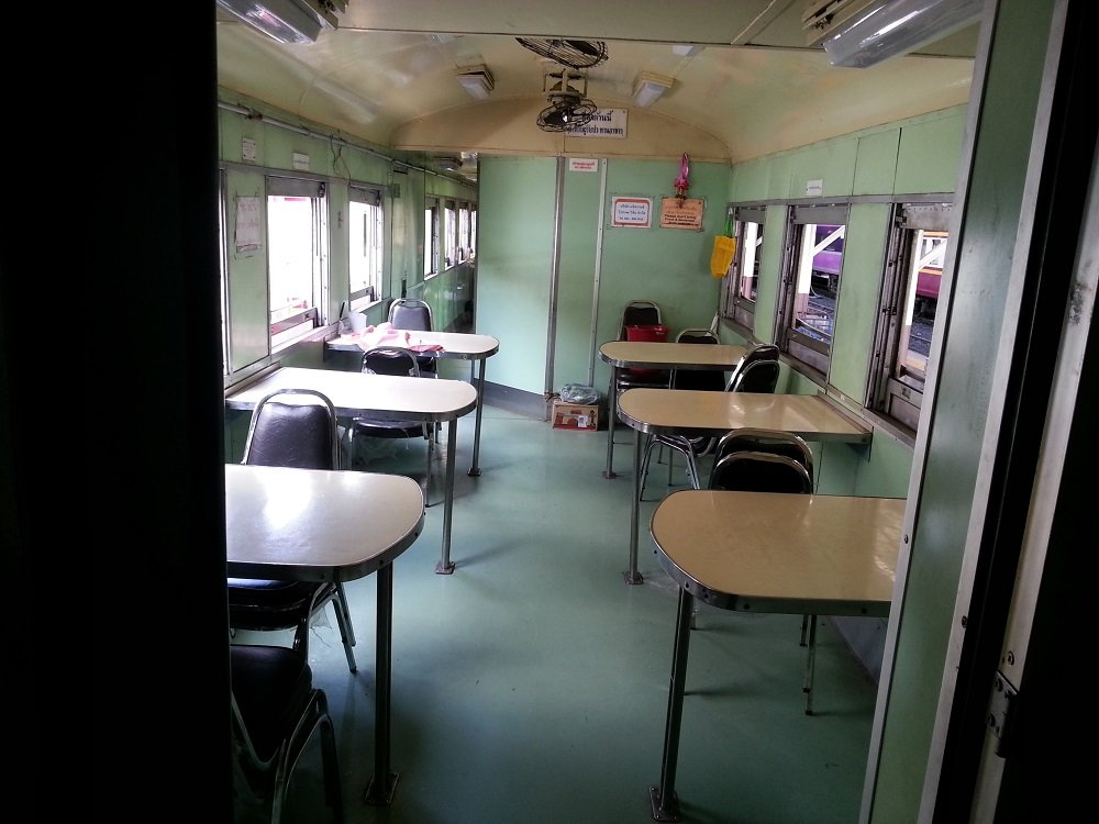 Restaurant car on the 13.45 train to Chiang Mai